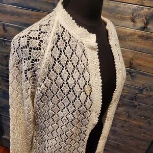 Vintage Lace Cream Cardigan Granny crochet knit